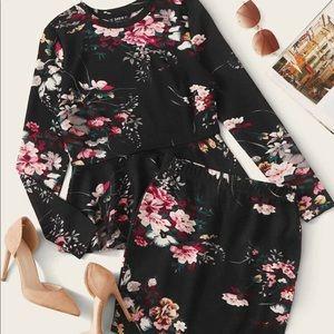 Floral print peplum top and skirt set - size 8/10